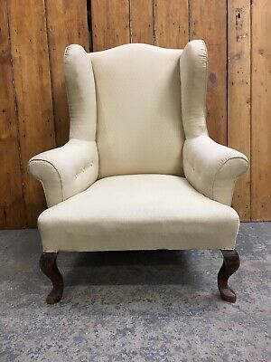 Charming Vintage Antique Victorian Wingback Library Armchair. Delivery Available