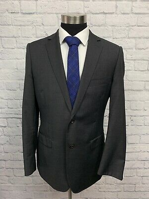 DKNY Mens Slim Fit Black & Gray Wool Suit Jacket Sport Coat 42L