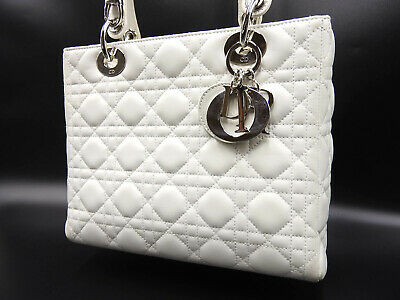 c9acef3655 CHRISTIAN DIOR Lady Dior Cannage 2way Shoulder Hand Bag Lambskin White  A-9853