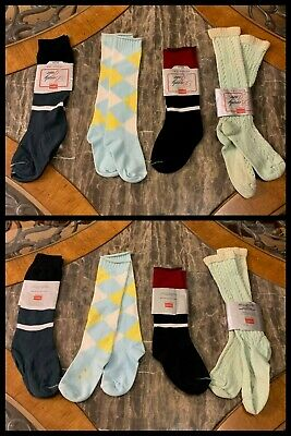 4 Vintage Knee High Socks Girls Crew Slouch Push Down HANES 1980s Sz 6.5 - 8.5