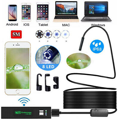 Wireless Endoscope WiFi Borescope Inspection Camera 5M 16 Feet 8 LED SHIPS FAST