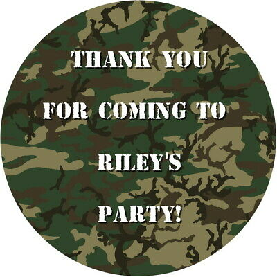 Personalised Gloss Army Camouflage  Birthday Party Stickers Celebration Labels
