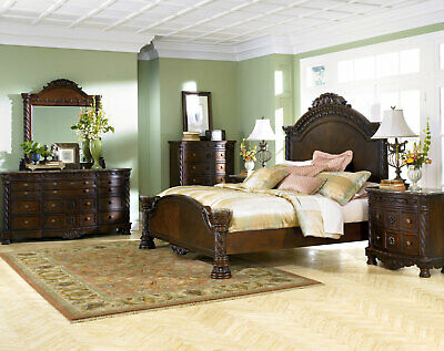 Traditional Brown Wood & Marble Bedroom Furniture - 5pcs King Mansion Set IA09