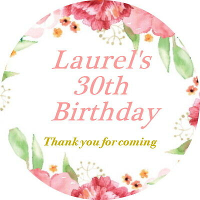 Floral Gloss Birthday Bridal Mehndhi  Stickers Personalised Celebration Labels