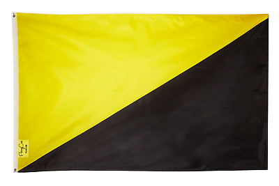 PringCor Ancap Flag 3x5 FT Banner Anarcho Capitalism Capitalist Black and Yellow