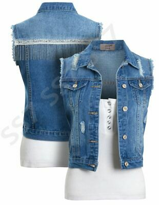 Girls Denim Gilet Blue Jean Jacket Sleeveless Waistcoat Age 4 8 10 12 14 Years