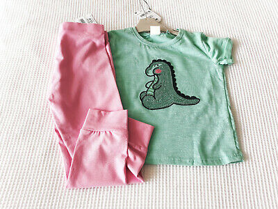 Next Girls Green Dino Top & White Cropped Leggings Age 5-6 Years BNWT