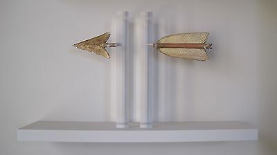 ANTIQUE gilded arrow finials, mounted in perspex - HIGHLY DECORATIVE