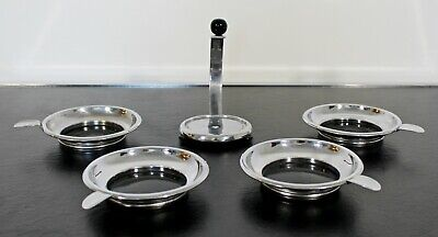 Art Deco Modernist Stackable Chrome Art Dishes or Ashtrays 1930s