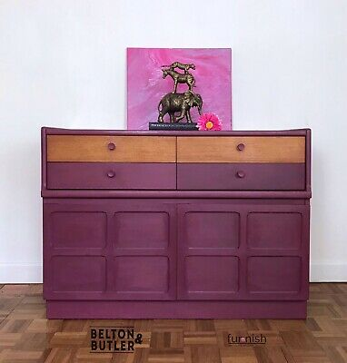 Dark Mulberry Red and Wood Sideboard by Nathan Furniture