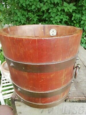 Antique Oak Brass Bound Planter Pot Holder R.A. Lister & Co. Dursley Circa 1890