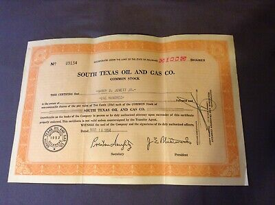 Old Vintage 1954 - SOUTH TEXAS OIL AN GAS Co Stock Certificate 100 Shares