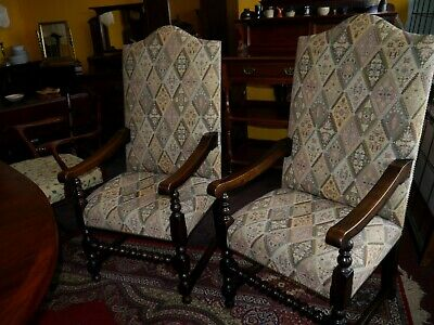 Excellent Pair Of Antique 17Th Century Manner High Back Oak Throne Chairs