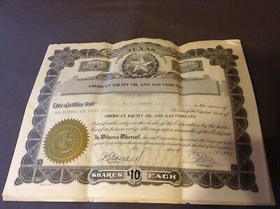 Old Vintage 1949 - AMERICAN EQUITY OIL & GAS Co  250 Shares