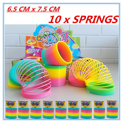 10 X Super Flexible Neon Colourful Magic Spring Slinky Toys Party Gift Event Fd