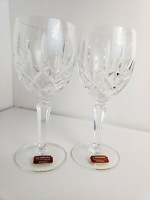 "2 Vtg ""Lady Anne"" GORHAM Full Lead Crystal Wine Glasses [W Germany] 6 7/8"" - NWT"