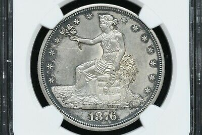 1876 Silver Trade Dollar NGC UNC Details