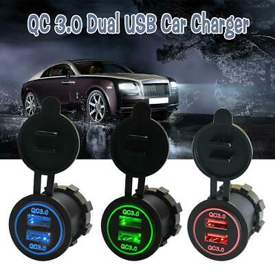 Dual USB Fast Charging 3.0 Car Modified LED Quick Charger 12V24V for Mobile Phon