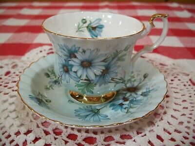 Royal Albert Bone China Tea Cup & Saucer Daisy on Pale Blue