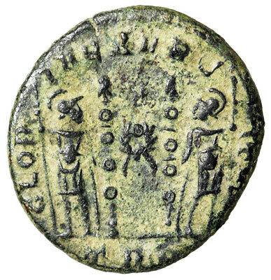 """RARE Constantine I The Great Roman Coin """"Peace Wreath Between War Soldiers"""" VF"""