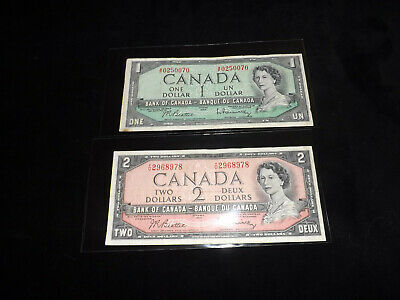 Bank Of Canada Lot - 1954 $2.00 & $1.00 Notes ==...