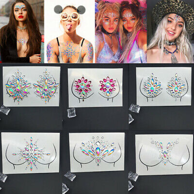 f6a037095 Adhesive Temporary Tattoo Sticker Festival Body Glitter Crystal Face Gems  Jewels