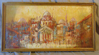 Vintage Israeli Abstract Impressionist Cityscape O/C Painting Signed Ruben