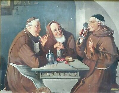 "Vintage/Antique Italian School Large Oil ""Monks Imbibing"""