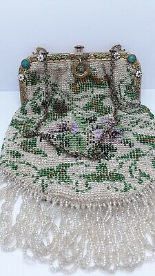 Rare VTG Antique Victorian Floral MICRO BEADED PURSE Ornate Jeweled Frame 1900s