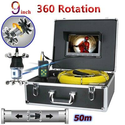 "50M Sewer Pipe Pipeline Drain Inspection Video System 9""LCD 360 Degree Camera"