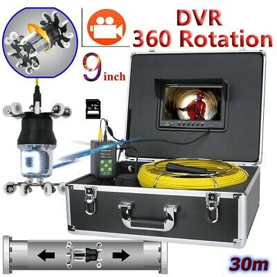 """30M Sewer Pipe Pipeline Drain Inspection 9""""LCD Video Recording 360 Degree Camera"""