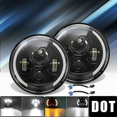 DOT 7 inch Round CREE LED Headlights Pair Halo For Chevrolet C10 C20 C30 Pickup