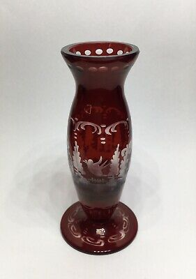 Stunning Little Antique Bohemian Glass Crystal Ruby Red Miniature Vase Victorian