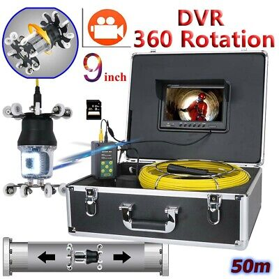 """50M Sewer Pipe Pipeline Drain Inspection 9""""LCD Video Recording 360 Degree Camera"""