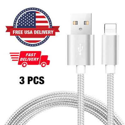 New IPhone Lightning 3FT Charger Cord  Long Cable Heavy [3-PACK] Duty EXTRA USB