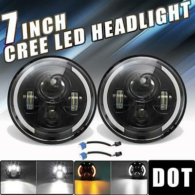 """DOT 7"""" inch Round LED Headlights Halo Hi-Lo Beam For Plymouth Duster 1970-1976"""