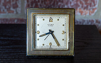 CYMA AMIC Vintage Swiss Winding Alarm Travelling/Table Clock