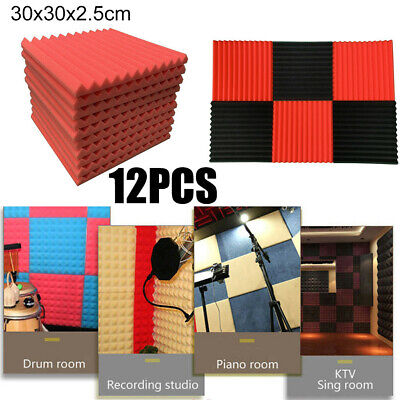 12Pcs Acoustic Foam Panel Sound Stop Absorption Sponge Studio KTV Soundproof
