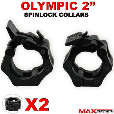 "2"" Olympic Weight Lifting Barbell Dumbbell Bar Spinlock Collars Pair Set 5cm"