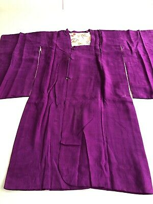 Antique Japanese Women's Kimono Michiyuki Coat Mon Kinsha Purple Figured Silk