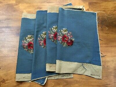 Vintage Blue NEEDLEPOINT & PETIT POINT Floral Chair Seat Covers ~ Set of 4