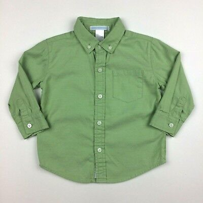 Janie & Jack Boys 12-18 months Green Oxford Long Sleeve Button Up Shirt Wedding