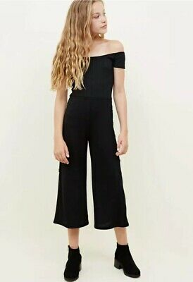 New Look - 915 Girls Black Ribbed Button Side Jumpsuit - Age 9 Years - BNWT