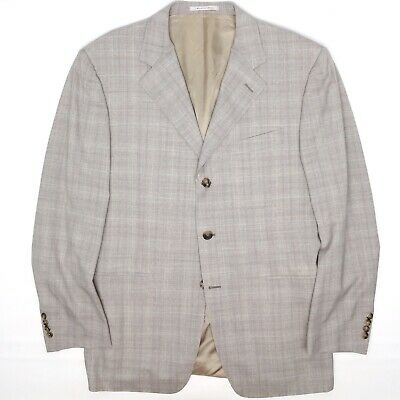 Canali Mens Suit Coat 40R Gray Beige Plaid 3 Button Wool Jacket Only