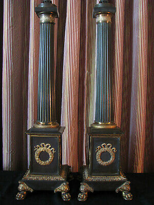 *PAIR* Exceptional Bronze Finish Empire Style Column Lamps WIth Gilt Mounts