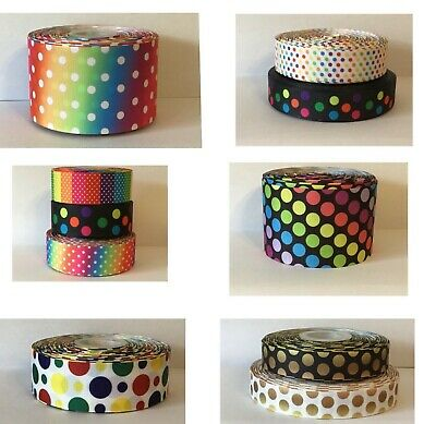 1m DOTS GROSGRAIN RIBBON - 22mm/25mm/38mm/50mm/75mm wide - BOWS, CAKES
