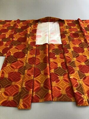Gorgeous Vintage Japanese Women's Kimono Haori Silk Jacket Orange