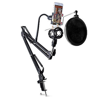 New Microphone Suspension Boom Scissor Arm Stand with Filter Shock Mount Desktop