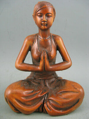 Antique Old Chinese Boxwood Hand Carved Yoga Statue collectable