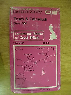 Ordnance Survey Landranger 204 Truro & Falmouth  Good used Condition
